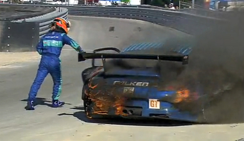 Sellers jumps out of the #17 Falken GT3 RSR. Photo YouTube