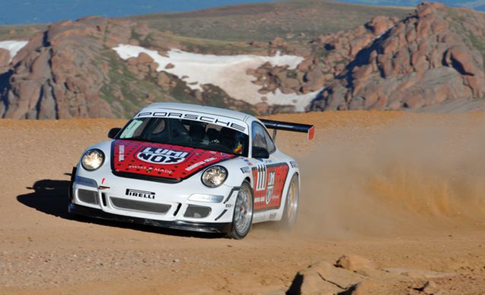 Driving a 2007 GT3 Cup car, Jeff Zwart beat all production based race cars at the Pikes Peak hillclimb and set a new class record in the process. Photo by Rupert Berrington