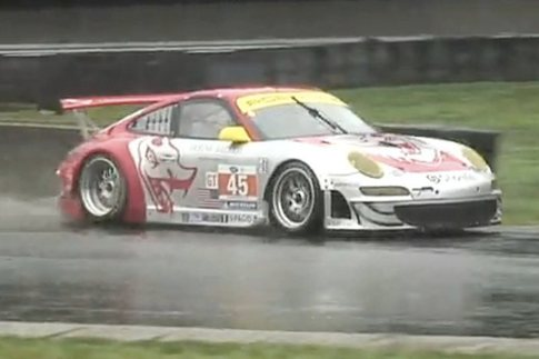 Friday qualifying was rain-soaked, while Saturday's race was dry. Patrick Long qualified his #45 GT3 RSR on the pole. Photo: YouTube