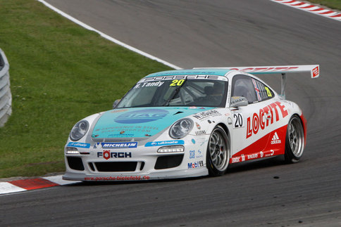 Nick Tandy, who also races in the Porsche Mobil1 Supercup, is seen here on the way to victory in the Carrera Cup Deutschland race at Dutch Circuit Park Zandvoort. Photo courtesy Porsche