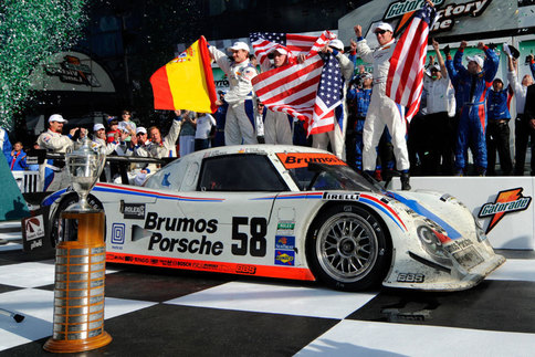 The #58 Brumos Porsche was driven to victory at the 2009 24 Hours at Daytona. Law (far right) was part of the four-man driver team. Photo by Bob Chapman