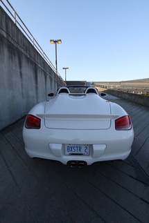 Closed, the restyled rear section with the twin humps gives the Boxster a less delicate appearance. Photo by Pete Stout