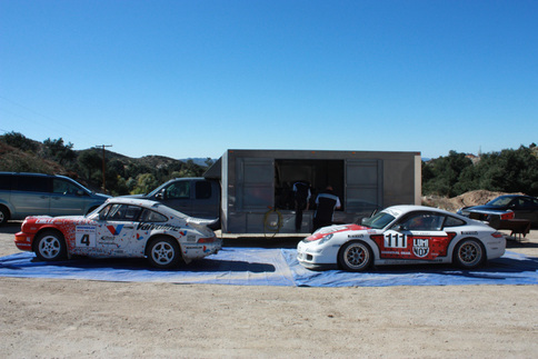 The 964 and the 997 GT3 Cup car represent Jeff Zwart's first and latest win at Pikes Peak. Photo by Damon Lowney