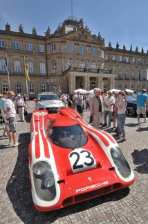 Hans Herrmann and Richard Attwood won Le Mans in 1969 in this 917. Herrmann drove it in the parade. Photo by Randy Leffingwell