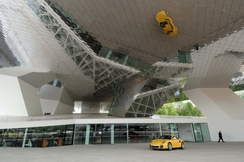 The Porsche Museum used more steel in its construction than the Eiffel Tower in Paris. Photo by Randy Leffingwell