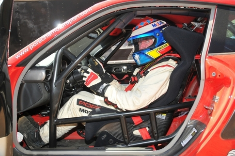 It's still street legal, but a lightweight racing seat was added to the GT2 RS as well as a rollcage. Note the stripped interior. Photo courtesy Porsche