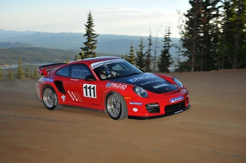 Only two miles of gravel remain on the Pikes Peak International Hill Climb course. Photo courtesy Porsche