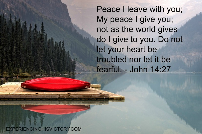 Peace I leave with you; My peace I give you; not as the world gives do I give to you. Do not let your heart be troubled nor let it be fearful. - John 14:27