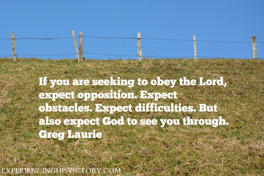 If you are seeking to obey the Lord, expect opposition. Expect obstacles. Expect difficulties. But also expect God to see you through Greg Laurie