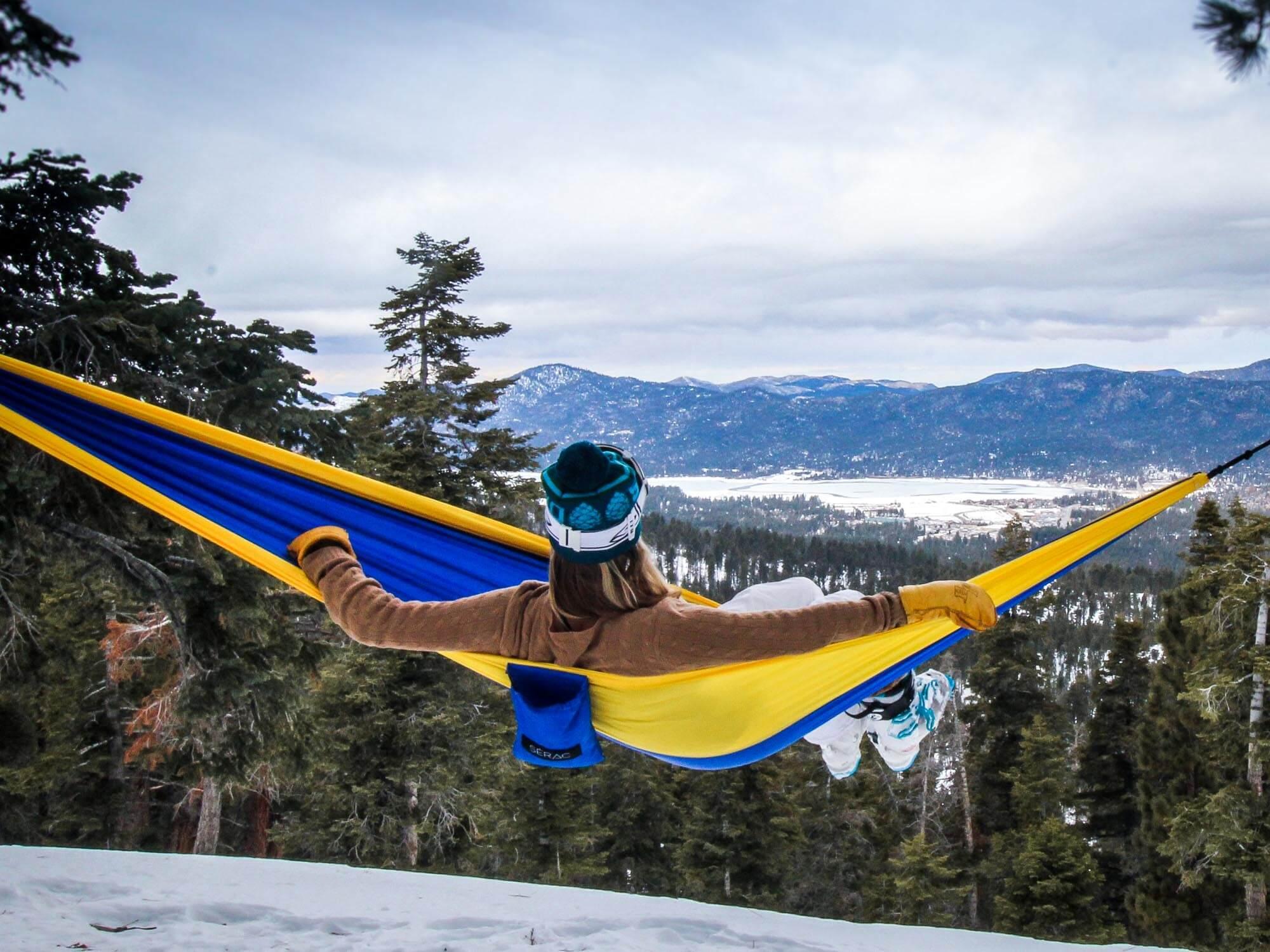 Big Bear california camping hammocking
