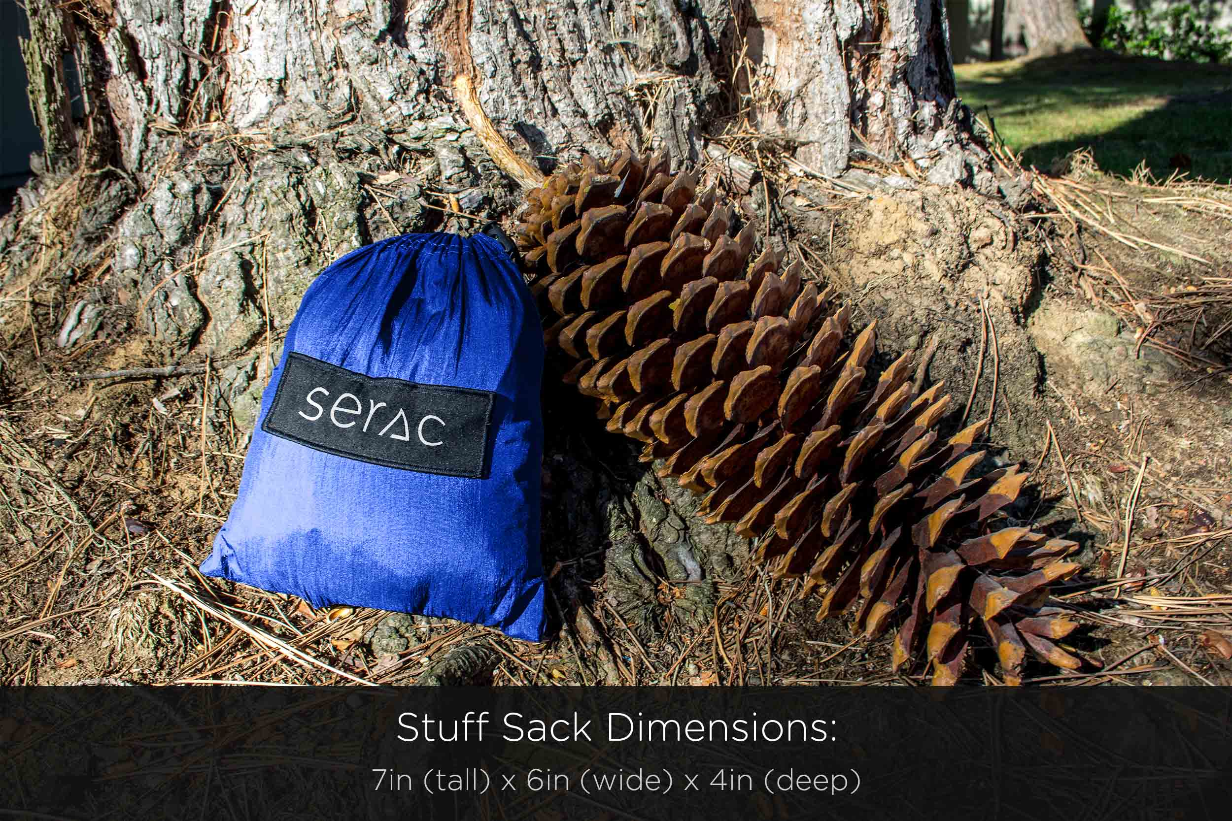 serac camping hammock stuffs into an attached stuff sack as small as a really big pine cone