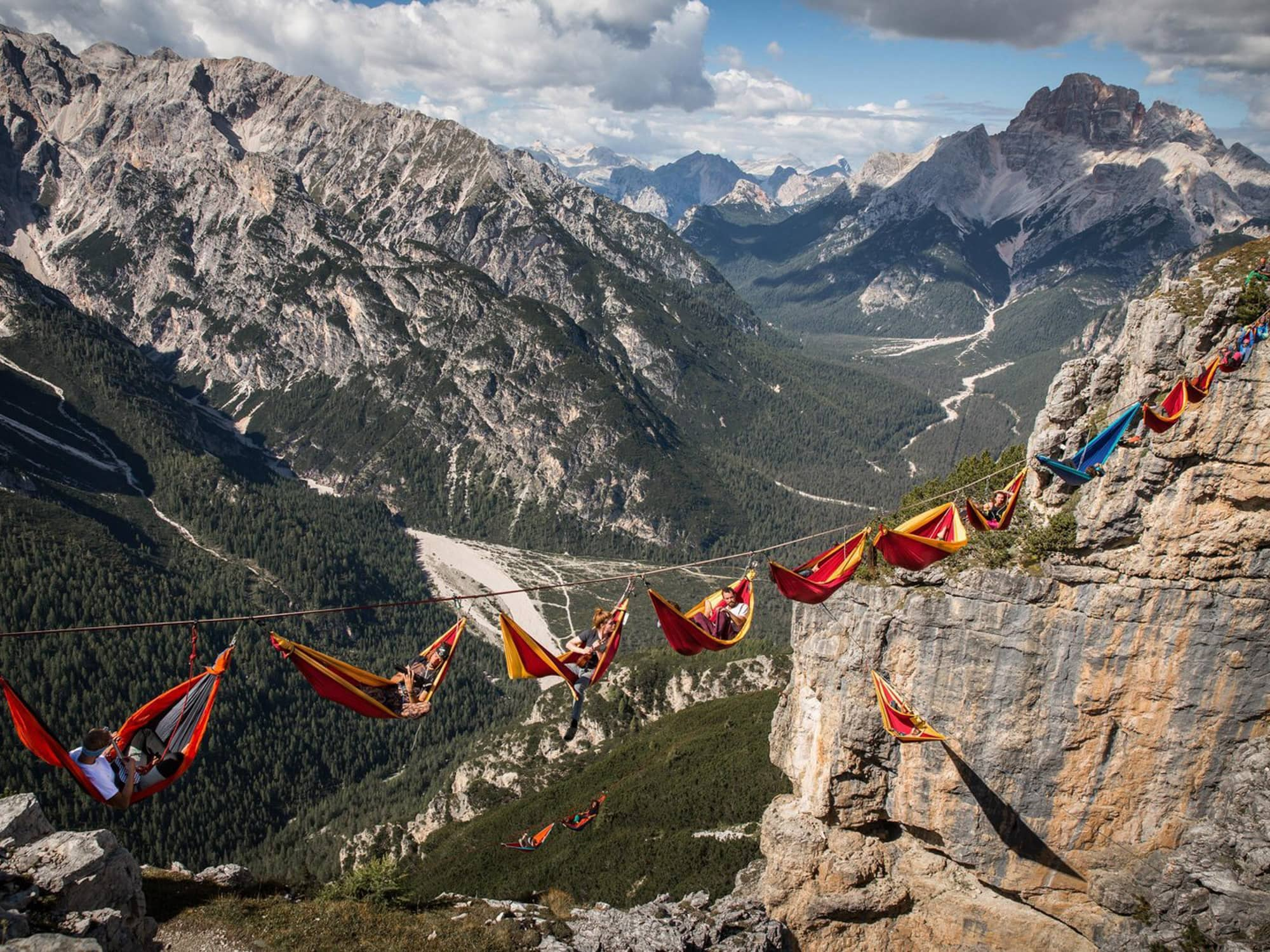 A prime example of hanging your camping hammock higher than you're willing to fall. Photo by Sebastian Wahlhuetter