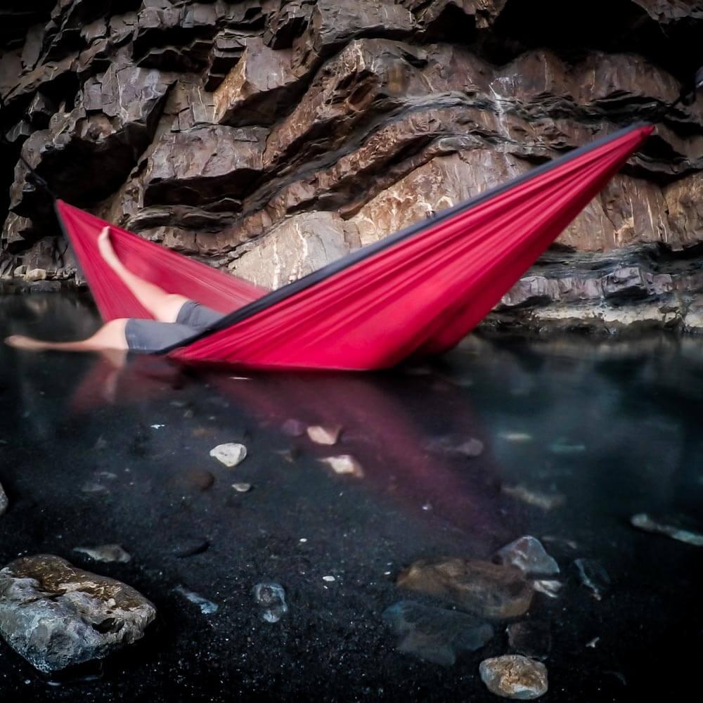 serac sequoia camping hammock in a hot spring