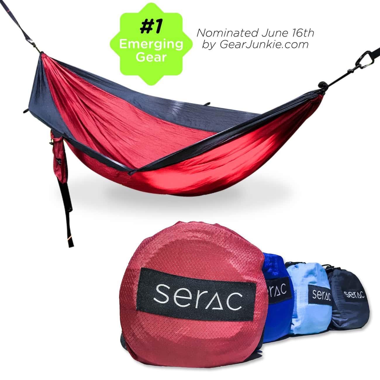 serac sequoia double camping hammock ember color with double camping hammock and compression sack
