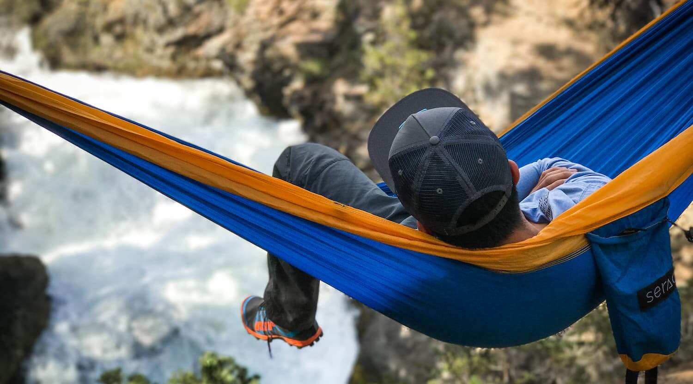 Hammocking in a serac sequoia ultralight double hammock
