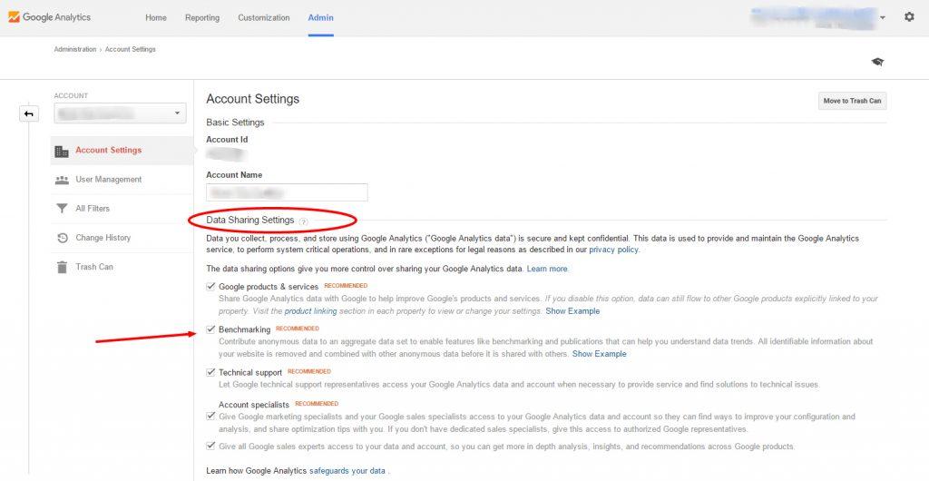 Data Sharing Settings in Google Analytics