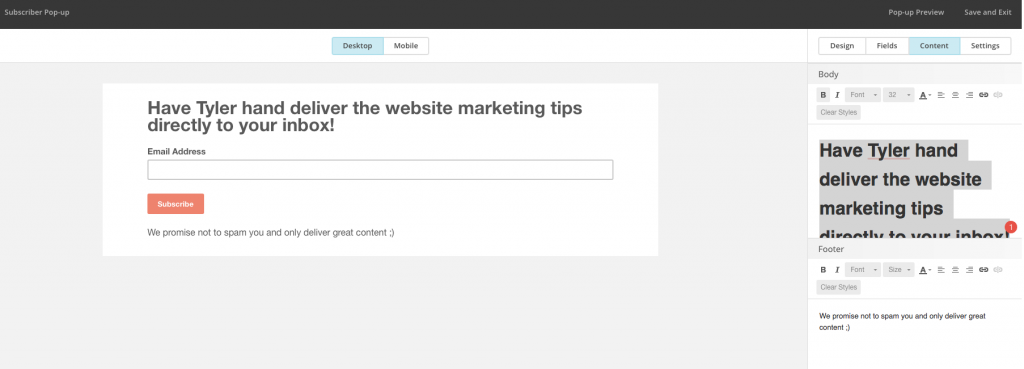 how to use mailchimp to make pop-ups