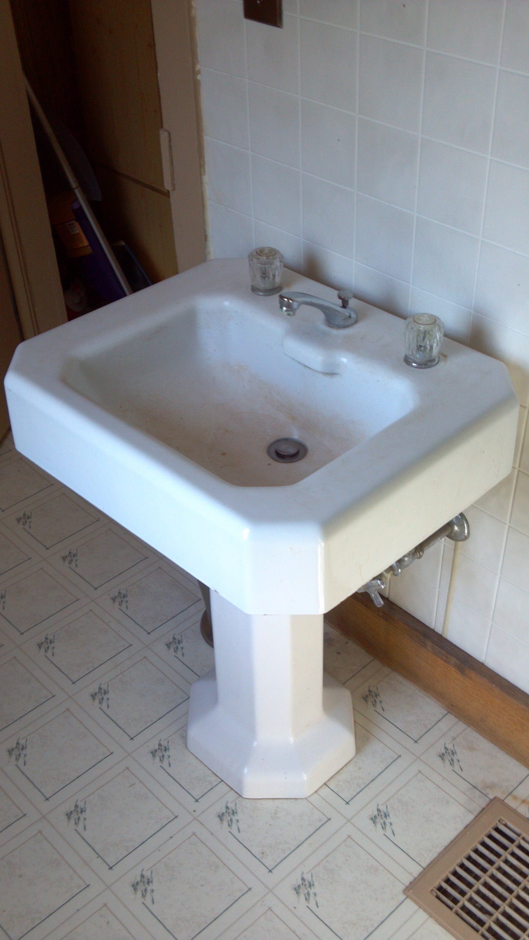 have a vintage Kohler pedestal sink dating from 1933 0r 1936,