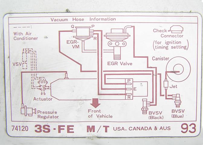 Vacuum Hose Information Diagram For A Toyota Corona St171r