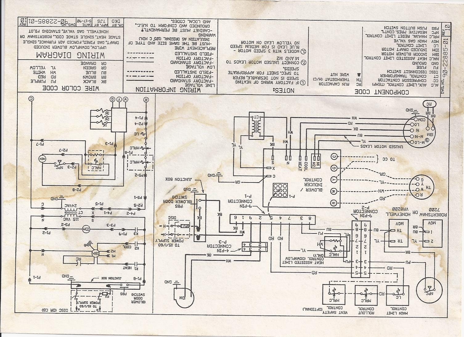 my ruud indoor blower runs all the time  i have been told i Air Conditioner Thermostat Wiring Diagram Trane HVAC Wiring Diagrams