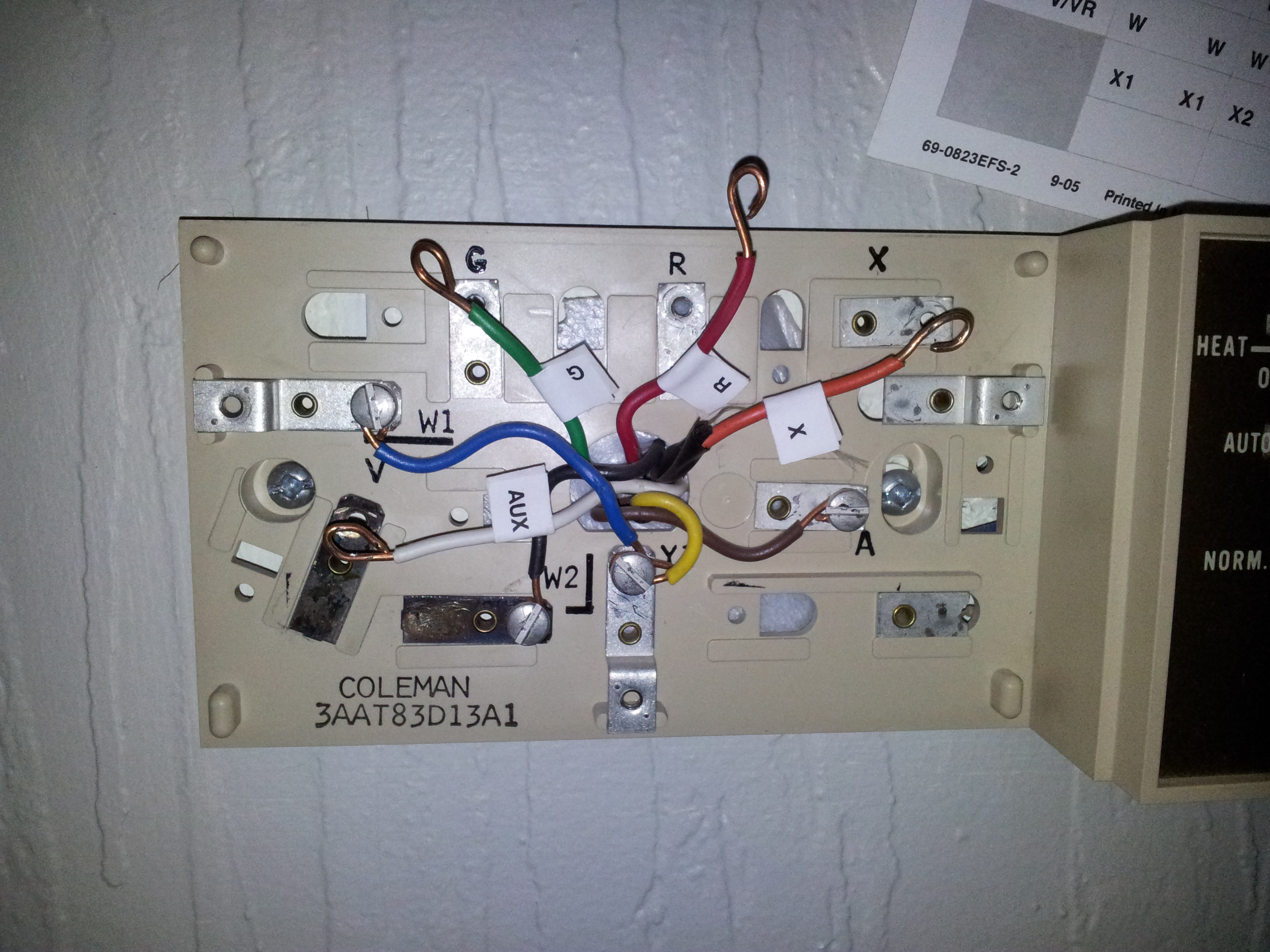 thermostat wiring diagram on for rheem air