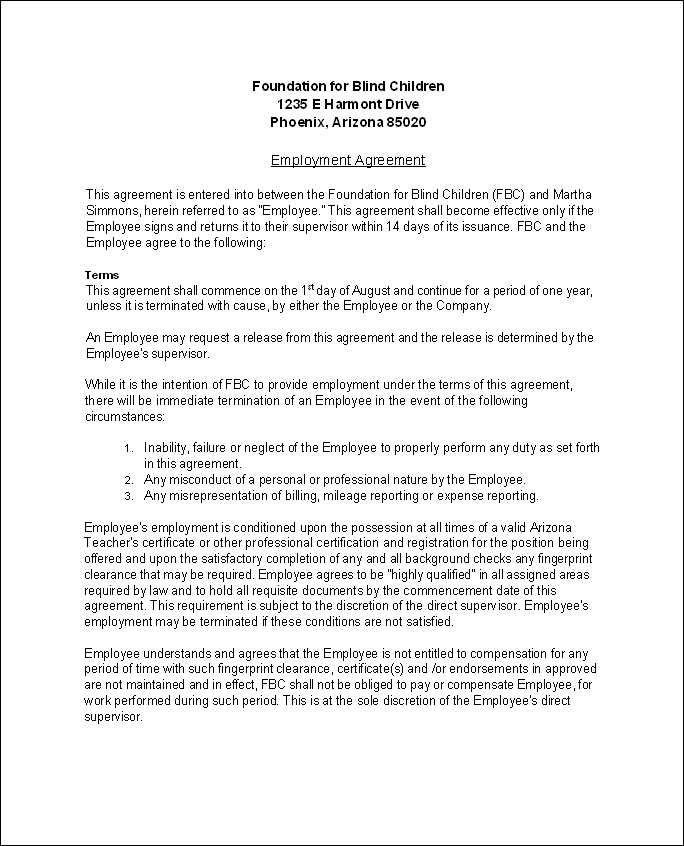 Employment Agreement. Pre-Employment Agreement Employment ...