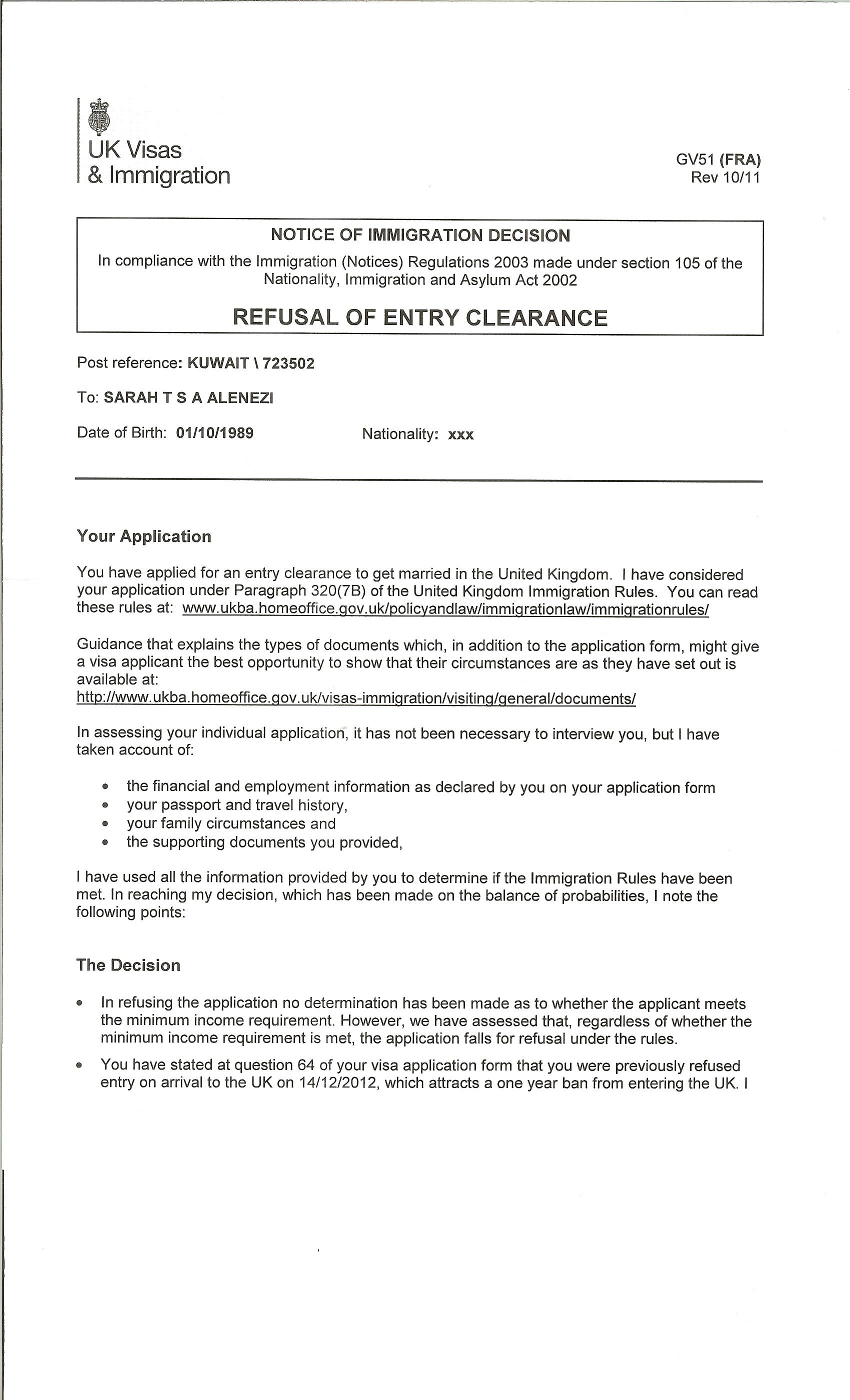 I Have Been Refused A Fiance Visa Under Paragraph 320 7b