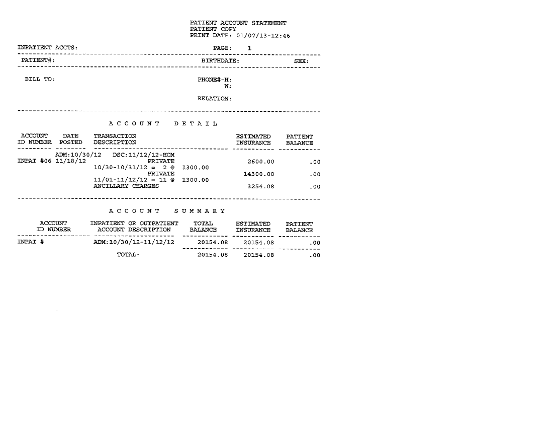 $20,000+ Medical Bill (Just one of many)