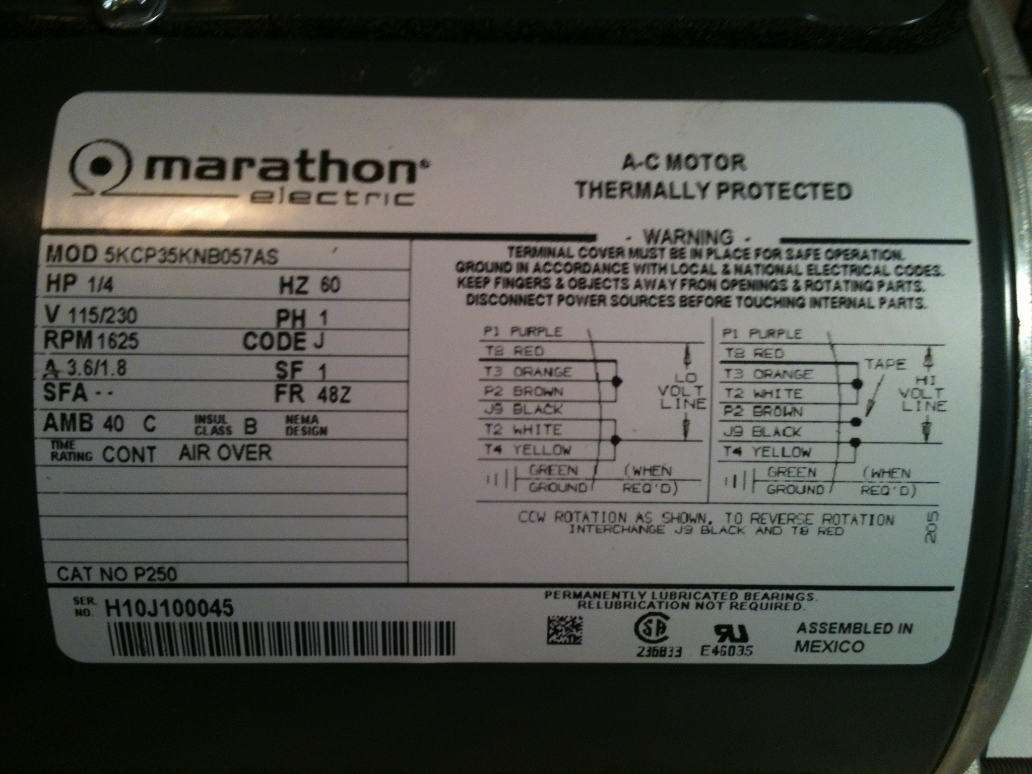 Marathon Motor Wiring Diagram: hi  i just bought a Marathon Electric AC motor  HP  1 4 V 115 230,