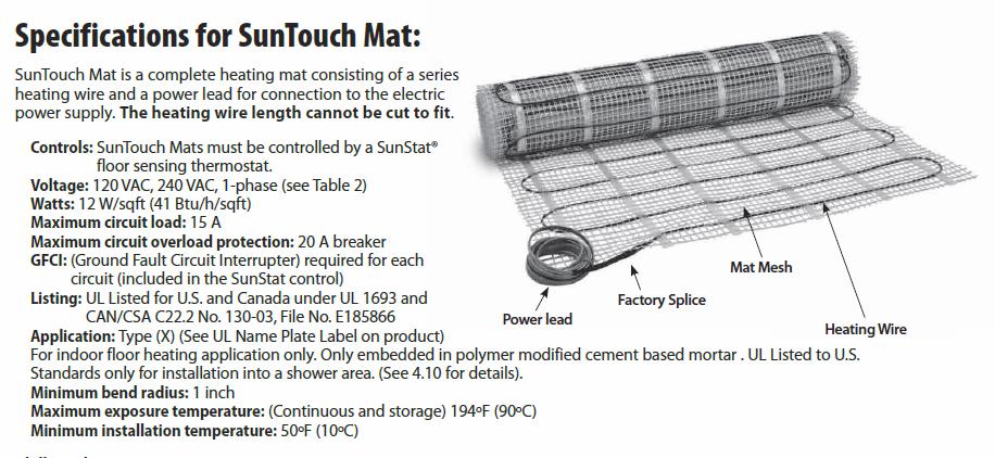 SunTouch Mat Specs