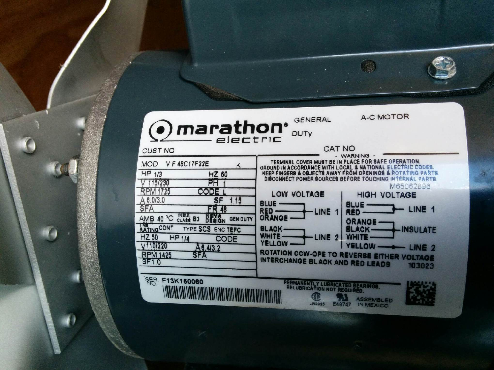 I Have A Marathon Electric Motor  1  3 Hp   Im Trying To