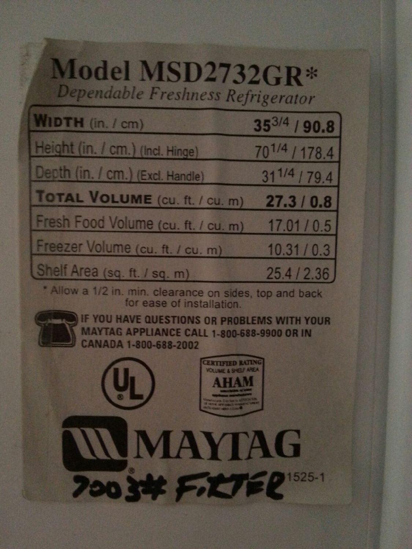 Label on fridge
