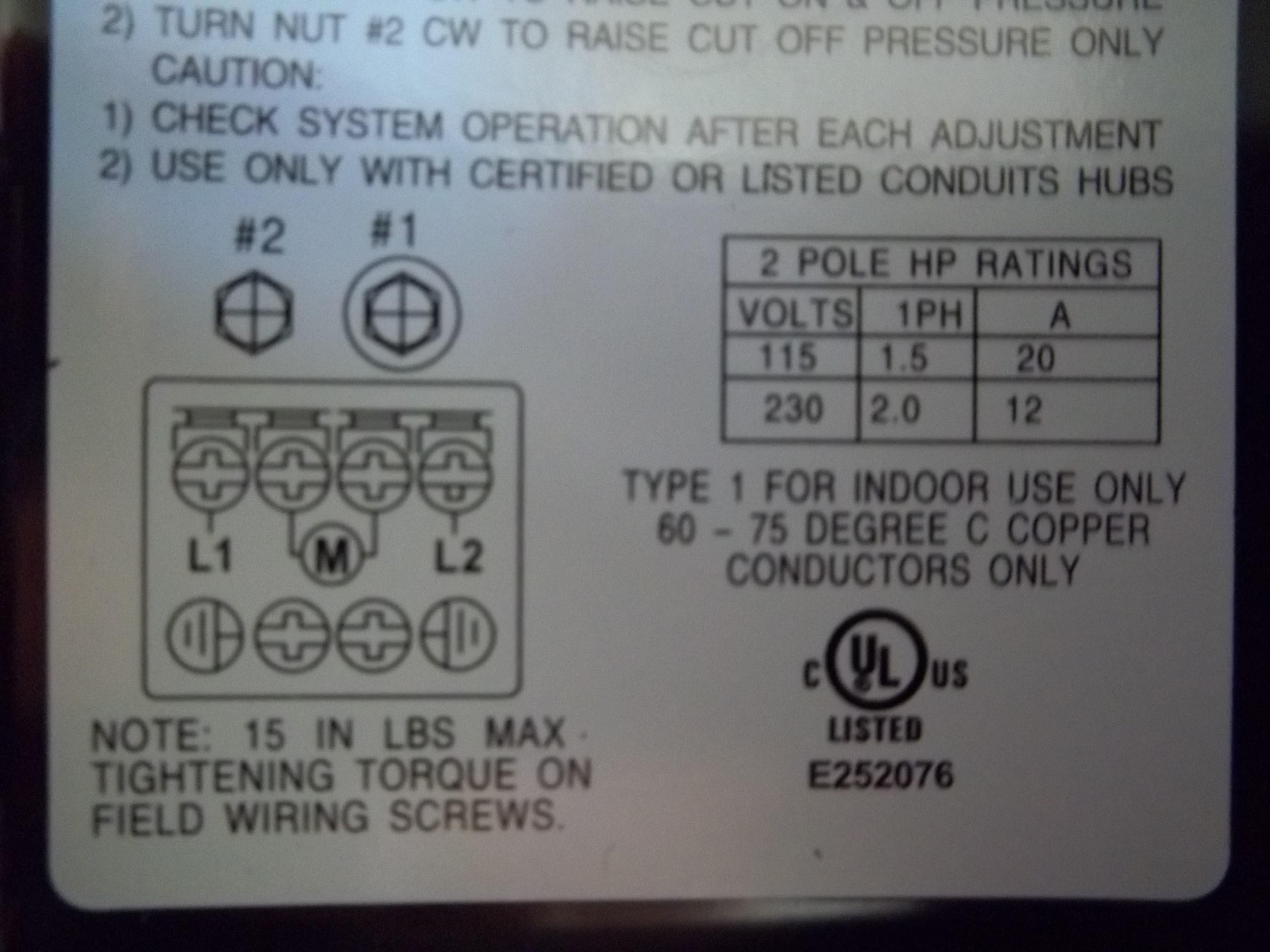 pumptrol pressure switch instructions