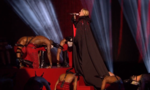 Madonna falls off the stage at the BRIT Awards