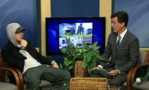Watch Stephen Colbert interview Eminem on Michigan public access television