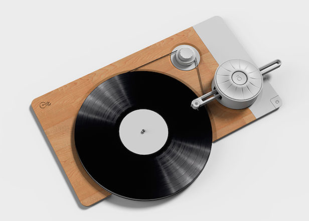 This minimalist turntable shows you its inner workings