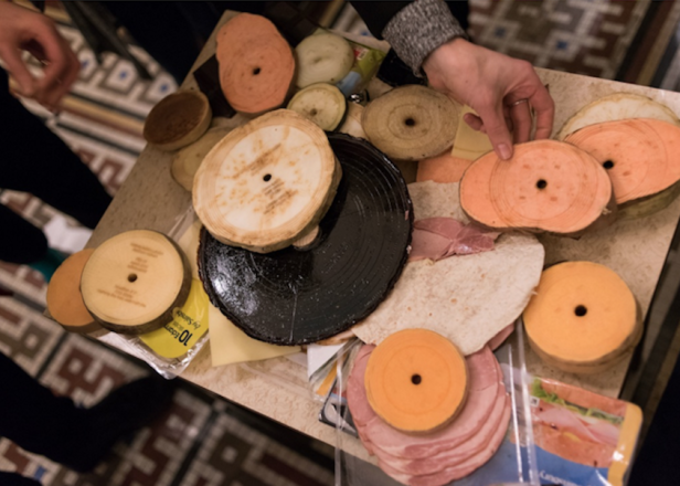 Matthew Herbert played a DJ set with records made out of cheese, eggplant and ham