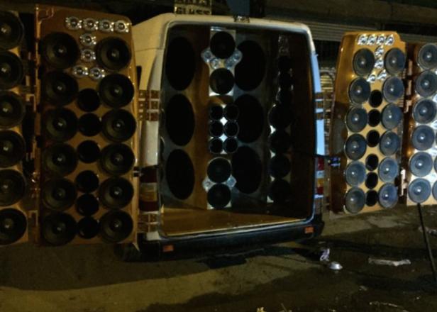 "Man arrested for having 80 speakers in his van, argues ""it's the weekend"""