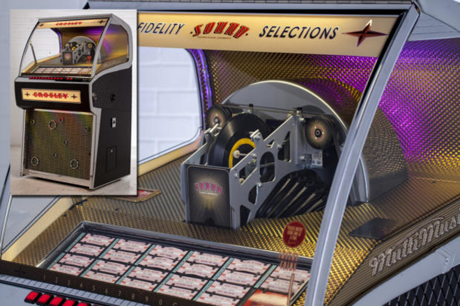 Budget turntable manufacturer Crosley is selling a vinyl jukebox