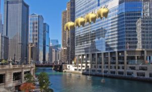 Trump Tower Chicago sign to be blocked out by Pink Floyd-inspired golden pigs for 24 hours