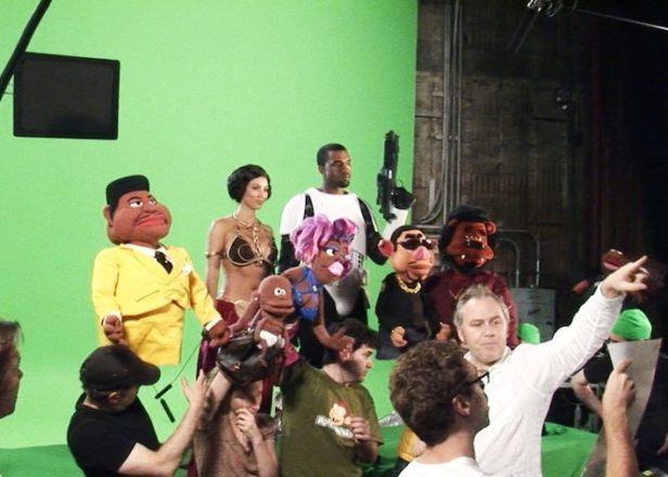 Take a look behind-the-scenes of Kanye's failed puppet show for Comedy Central