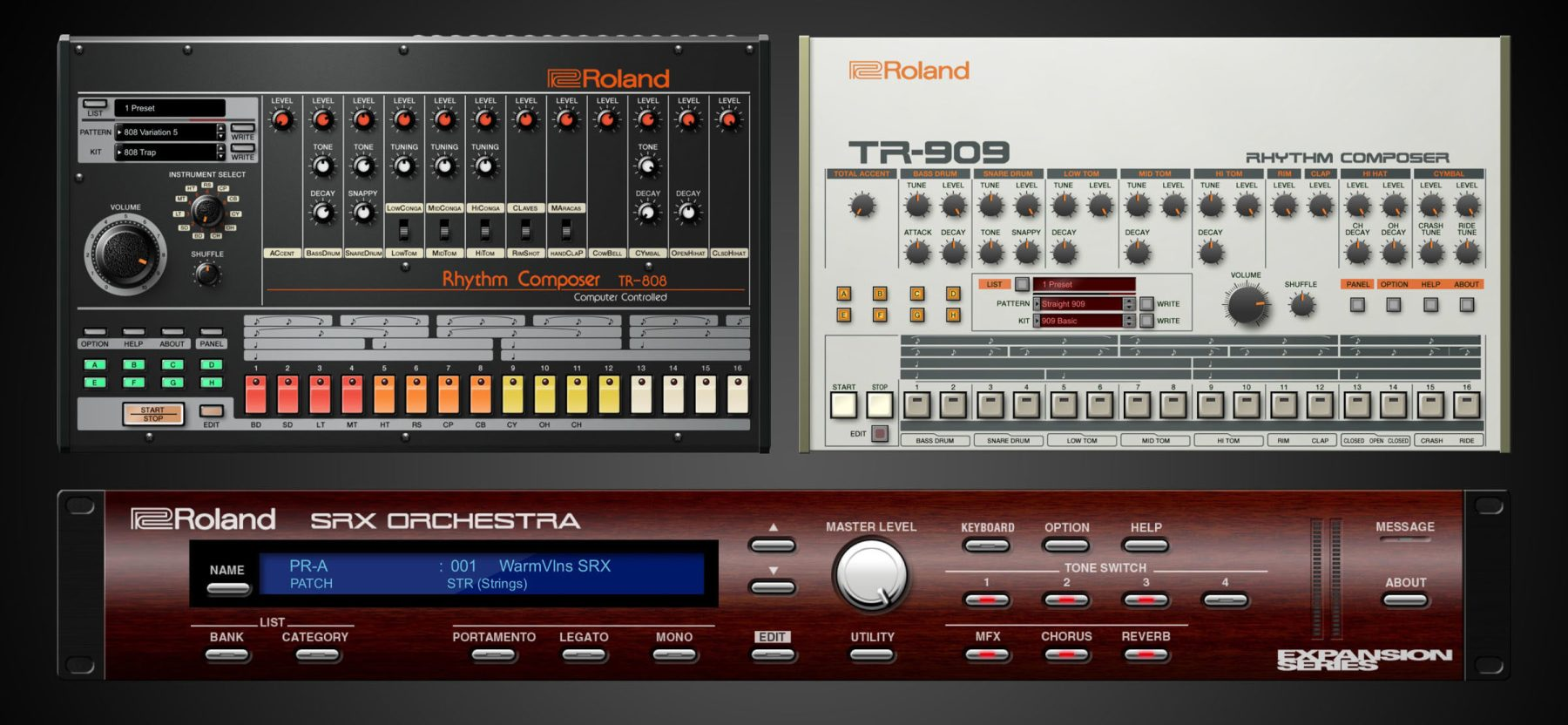 roland releasing official software versions of 808 and 909 drum machines