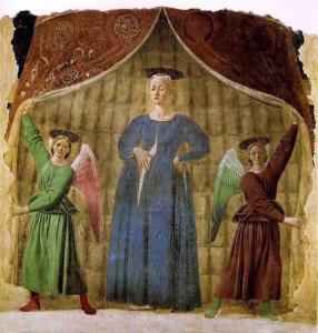 Madonna del Parto by Piero della Francesca, c. 1455 [Museo della Madonna del Parto, Monterchi, Italy]