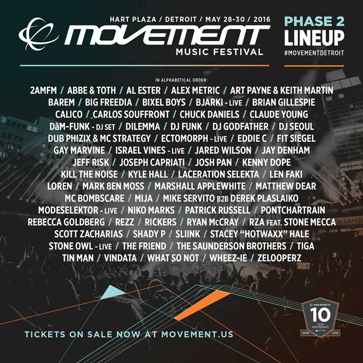 Movement Electronic Music Festival 2016 Lineup - Phase 2