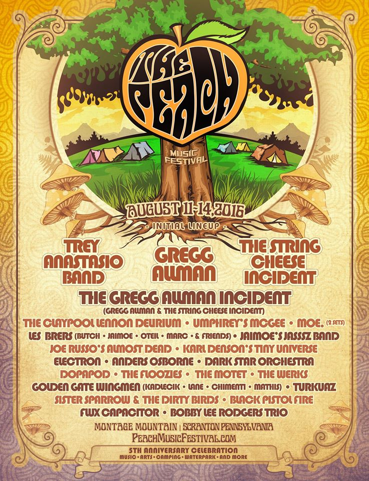 The Peach Music Festival 2016 Initial Lineup