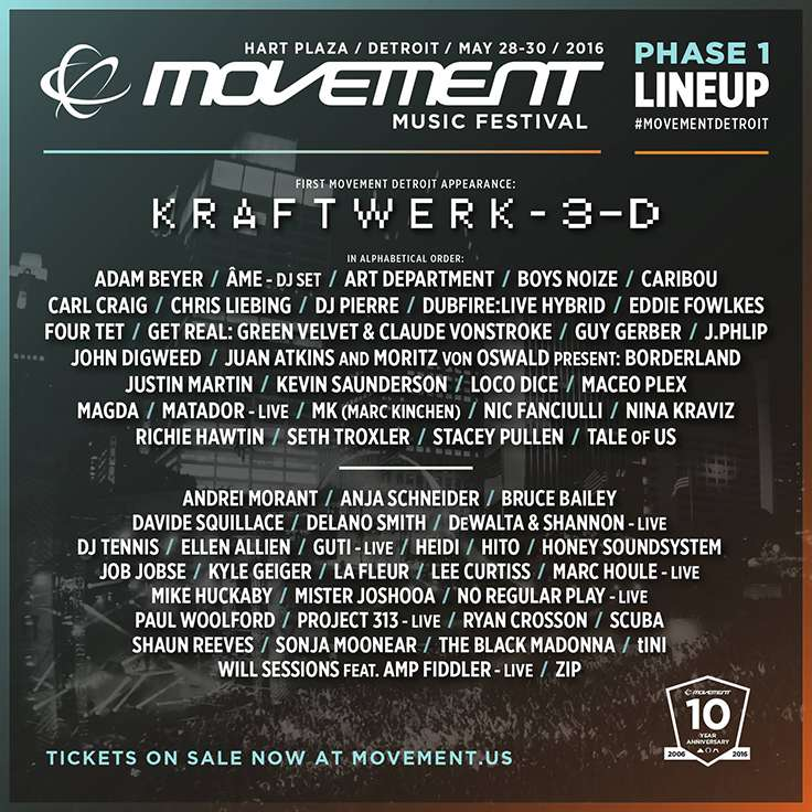 Movement Electronic Music Festival 2016 Lineup Phase 1