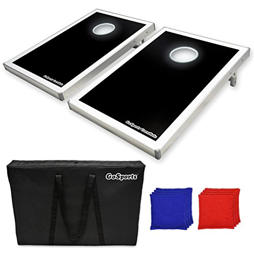 GoSports-CornHole-Bean-Bag-Toss-Game-Set-Superior-Aluminum-Frame-American-Flag-Football-and-Black-designs-0