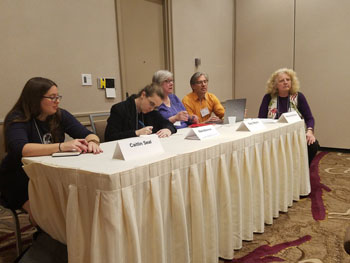 L to R: Caitlin Seal, Marie Brennan, Terry Weyna, Alex Gurevich, Nancy Jane Moore