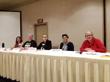 L to R: Rebecca Gomez Farrell, Michele Cox, Marie Brennnan, Andrea Hairston, Terry Weyna