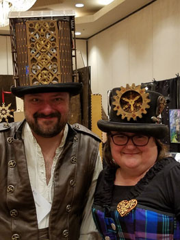 Steampunk hats in the FOGCon dealers room.